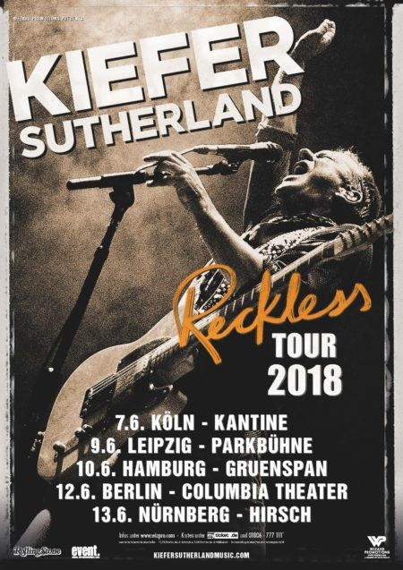 KIEFER SUTHERLAND Reckless Tour 2018